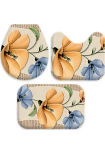 Jogo Tapetes Love Decor Para Banheiro Beautiful Flowers Multicolorido ÚNico - Bege - Dafiti