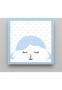 Quadro Amiguinho Carneirinho Azul Bebê 38Cm Grão De Gente Azul