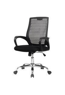 Cadeira Office Bolton Polipropileno Preto Base Cromada - 58459 Preto