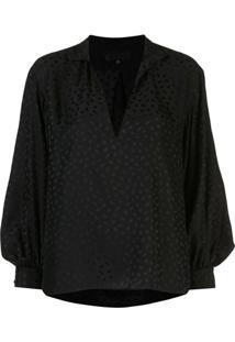 Nili Lotan V-Neck Stand Up Collar Blouse - Preto