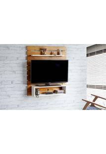 Painel Tv Quarto Standby - Home Suspenso Para Tv Até 45 Polegadas Com Rack Nózes E Branco -100X23X115 Cm