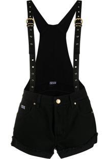 Versace Jeans Couture Salopete Com Logo Bordado - Preto