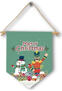 Flã¢Mula Decorativa Natalina Boneco De Neve E Quebra-Nozes Merry Christmas ÚNico - Verde - Dafiti