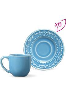 Jogo De Xícaras De Café Acanthus- Azul- 12Pçs- 7Porto Brasil