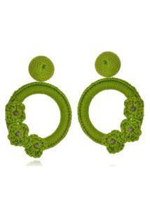 Brinco Le Diamond Liza Crochê Com 3 Flores Verde