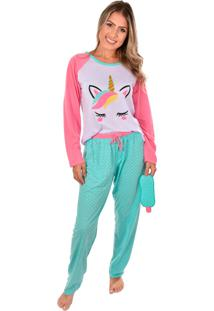 Pijama Ayron Fitness Unicórnio Raglan Rosa E Água Longo