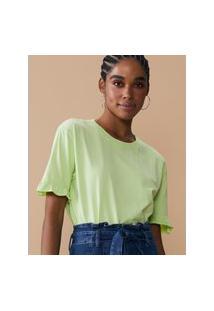 Amaro Feminino T-Shirt Oversized Estonada Com Babado Na Manga, Verde
