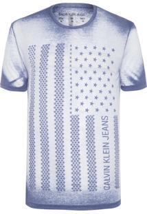 Camiseta Masculina Estampa Bandeira Usa Avesso - Azul