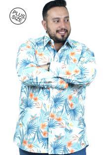 Camisa Plus Size Bigshirts Manga Longa Tropical - Branca