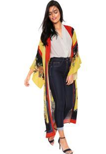 Kimono Colcci Loose Amarelo/Vermelho