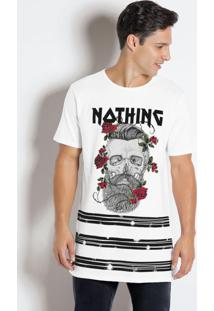 Camiseta Branca Com Estampa E Escrita Nothing