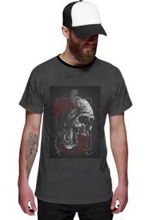 Camiseta Di Nuevo Caveira E Rosas Vermelhas Swag Dn Preta