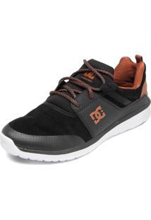 Tênis Couro Dc Shoes Heathrow Prestige Preto/Caramelo