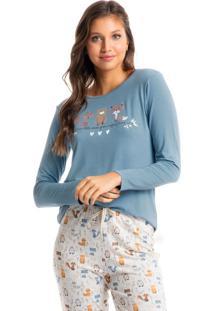 Pijama Longo Estampado Friends - Bege/M