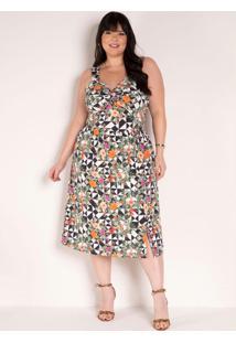 Vestido Floral Geométrico Com Torção Plus Size