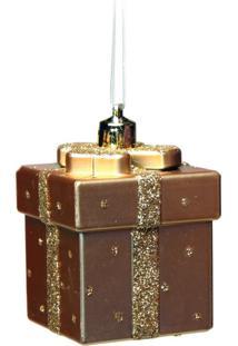 Enfeite P/ Pendurar Árvore Natal Presente 3 Pçs Dourado
