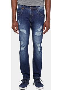 Calça Jeans Skinny Zune Super Rasgada Stone Masculina - Masculino-Jeans