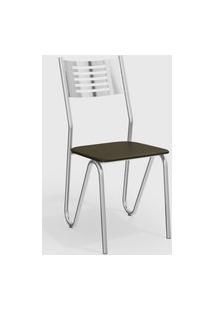 Kit 2 Cadeiras Napoles Cromada De Metal Marrom Kappesberg