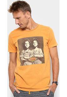 Camiseta Redley Double V Masculina - Masculino-Mostarda
