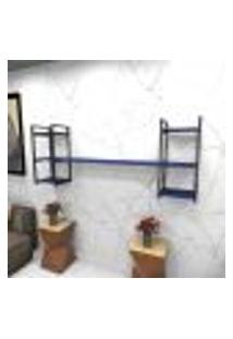 Estante Estilo Industrial Sala Aço Cor Preto 180X30X68Cm (C)X(L)X(A) Cor Mdf Azul Modelo Ind26Azsl