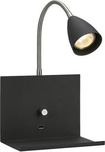 Luminária De Parede Premier Iluminação Com Usb Na Cor Preta