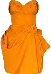 Carolina Herrera Vestido De Seda Franzido - Laranja
