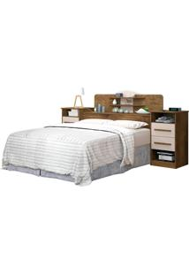 Cabeceira Box Imperial 1,40 Jequitiba/Off-White J&A Móveis