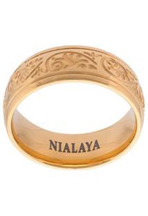 Nialaya Jewelry Anel Gravado De Aço Inoxidável - Amarelo