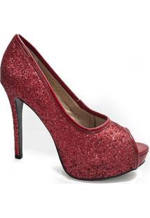 Peep Toe Glitter Sapato Show - 744714