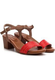 Sandália Usaflex Salto Grosso Multi Metais Feminina - Feminino-Vermelho