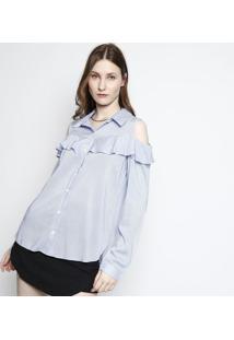Camisa Listrada Com Babados - Azul & Branca- Ahaaha