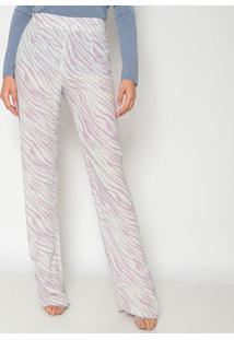 Calça Pantalona Abstrata - Lilás & Brancadudalina