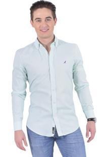 Camisa Social Listrada Masculina Slim Verde 100213