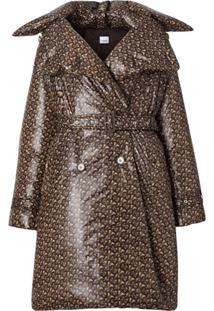 Burberry Trench Coat Com Estampa Monogramada - Marrom
