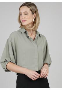 Camisa Feminina Cropped Ampla Manga 3/4 Verde
