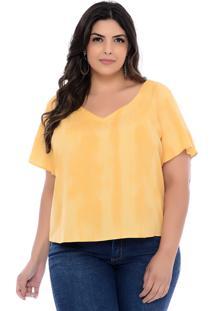 Blusa Plus Size Join Curves Amarela Tie Dye Atenas