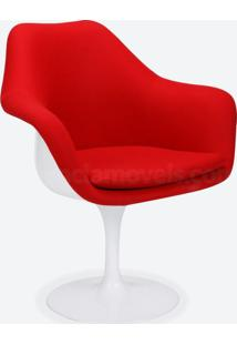 Cadeira Saarinen Revestida - Pintura Branca (Com Braço) Suede Cinza Claro - Wk-Pav-04