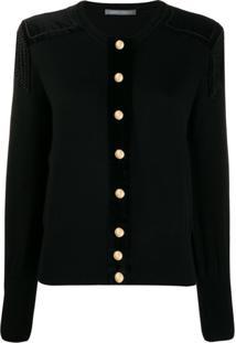Alberta Ferretti Oversized Button Cardigan - Preto