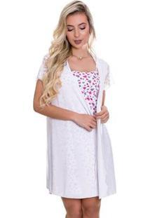 Camisola Amamentação Estampada C/ Robe Feminina - Feminino-Branco
