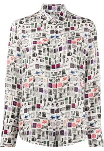 Ps Paul Smith Blusa De Seda Com Patchwork - Branco