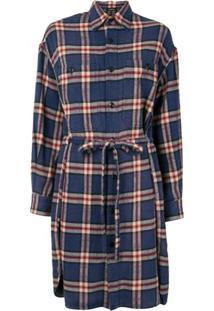 R13 Drawstring-Waist Plaid Shirtdress - Azul