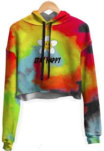 Blusa Cropped Moletom Feminina Stay Happy Tie Dye Md31