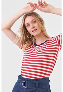 Blusa Maria Filã³ Listrada Retilinea Vermelha/Off-White - Vermelho - Feminino - Algodã£O - Dafiti