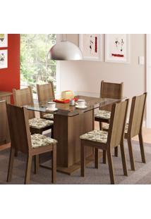 Conjunto De Mesa Com 6 Cadeiras Gales Rustic E Lírio Bege