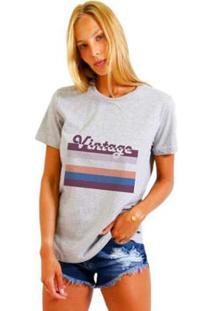 Camiseta Joss Estampada Vintage Feminina - Feminino-Mescla