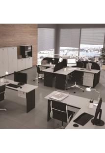Mesa Para Escritório Retangular Pé Painel 135Cm Gebb Work Preto/Cinza