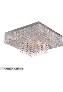Plafon Colmeia Quadrado Com Pingentes- Cristal & Inox