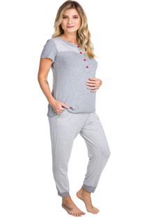 Pijama Inspirate Gestante Mescla Listrado Cinza