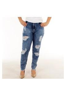 Calça Jeans Feminina Destroyed Premium