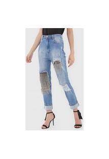 Calça Jeans Lança Perfume Boyfriend Aplicações Azul